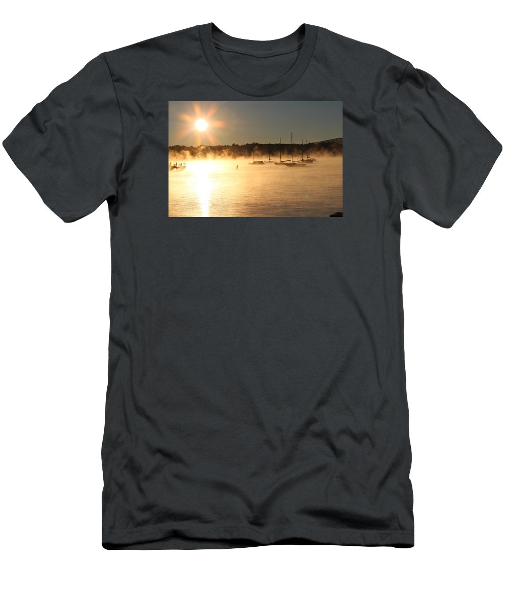 Fog Men's T-Shirt (Athletic Fit) featuring the photograph Wolfeboro Nh by Donn Ingemie