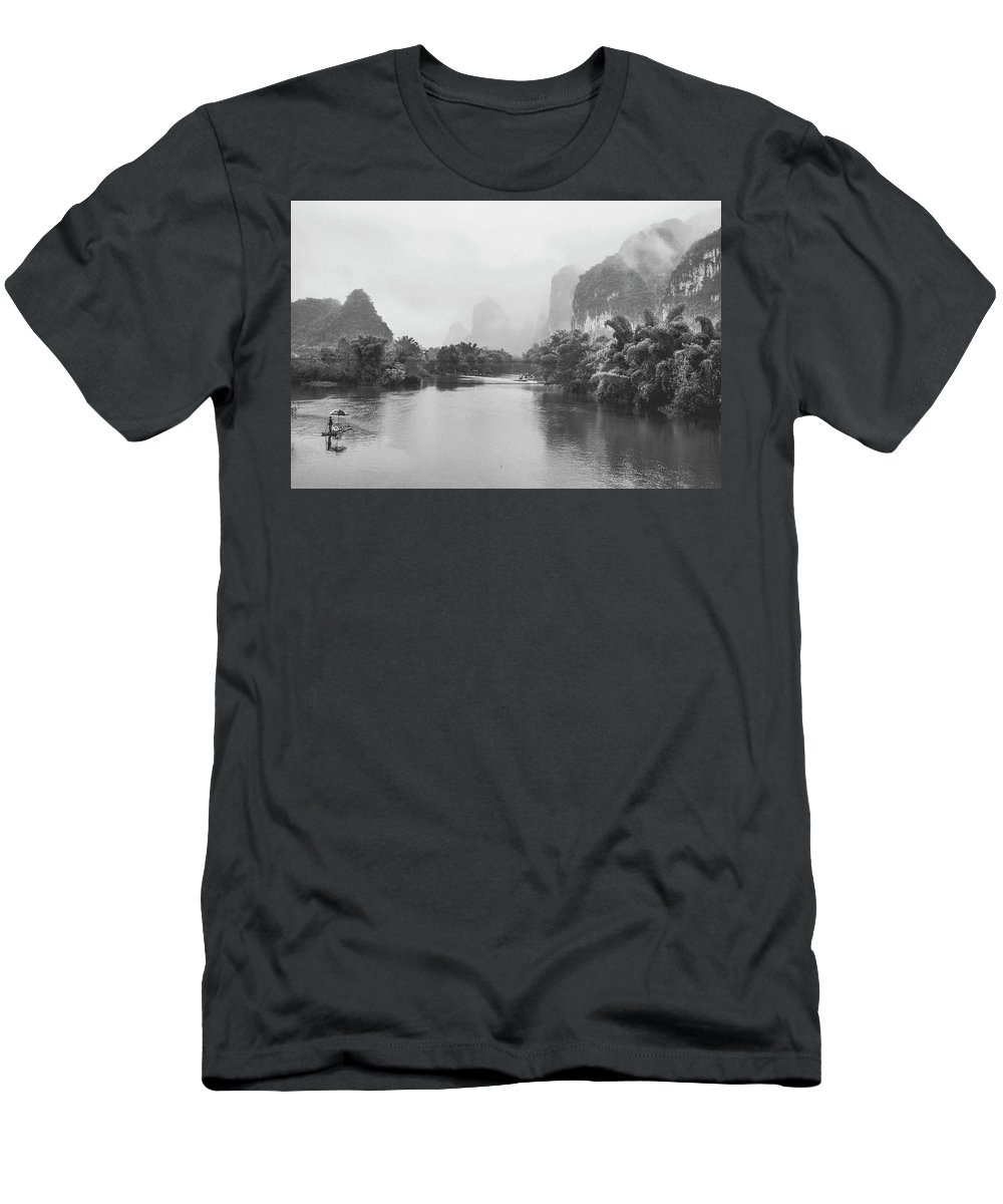 River Men's T-Shirt (Athletic Fit) featuring the photograph Yulong River Scenery by Carl Ning