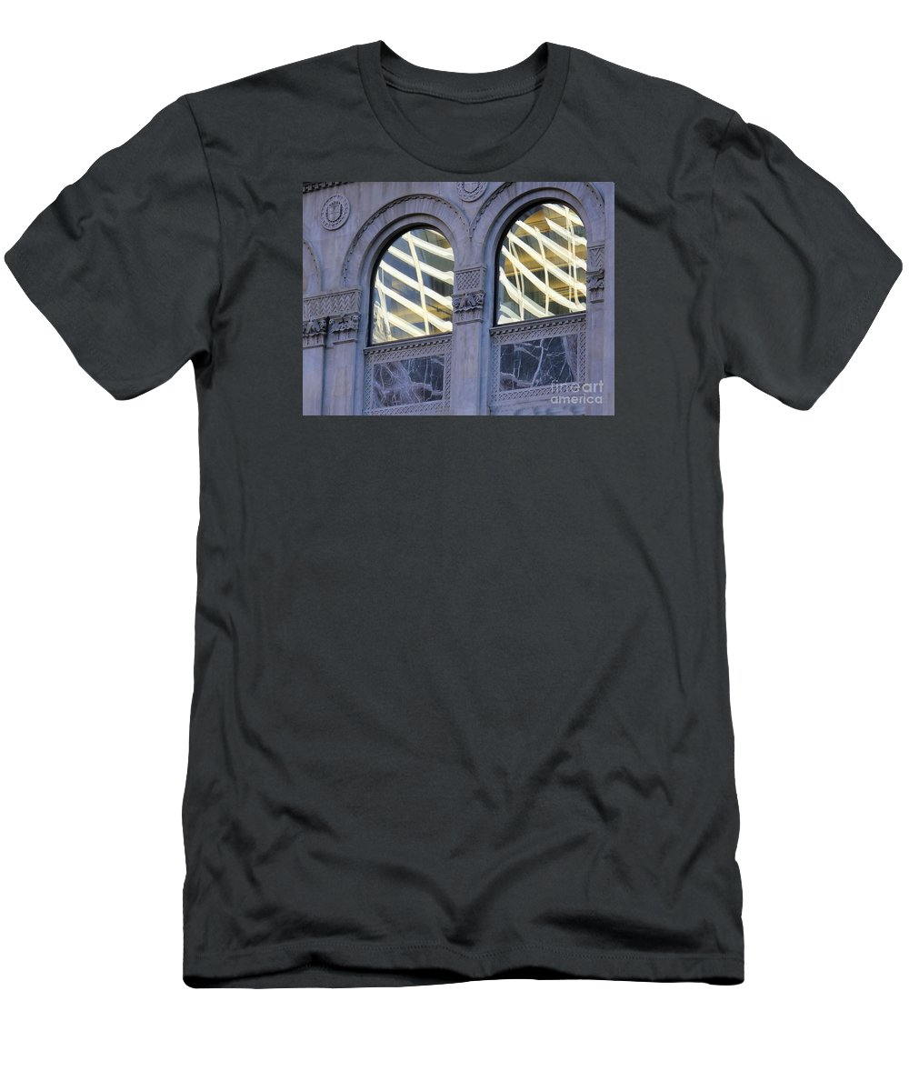 Abstract Men's T-Shirt (Athletic Fit) featuring the photograph 5th Avenue Reflections by Rick Locke