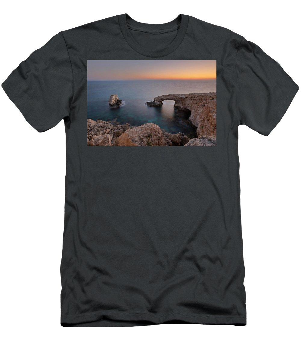 Love Bridge Men's T-Shirt (Athletic Fit) featuring the photograph Love Bridge - Cyprus by Joana Kruse
