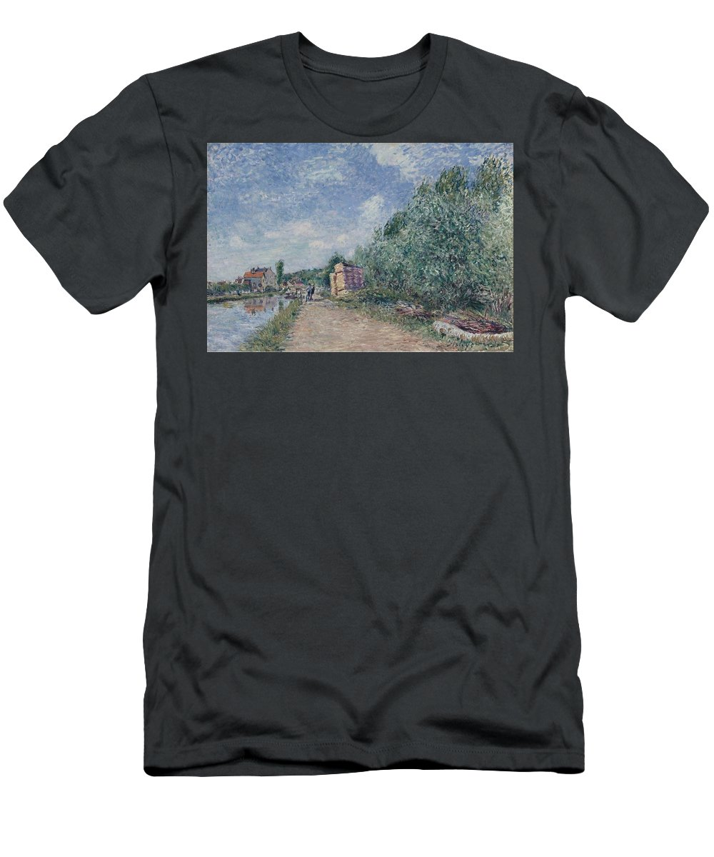 The Channel Of Loing Men's T-Shirt (Athletic Fit) featuring the painting The Channel Of Loing by MotionAge Designs