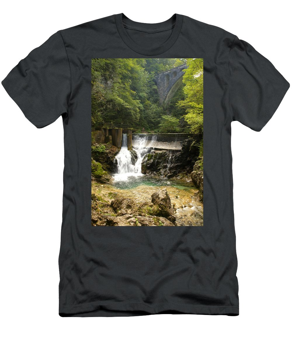 Vintgar Men's T-Shirt (Athletic Fit) featuring the photograph The Vintgar Gorge by Ian Middleton