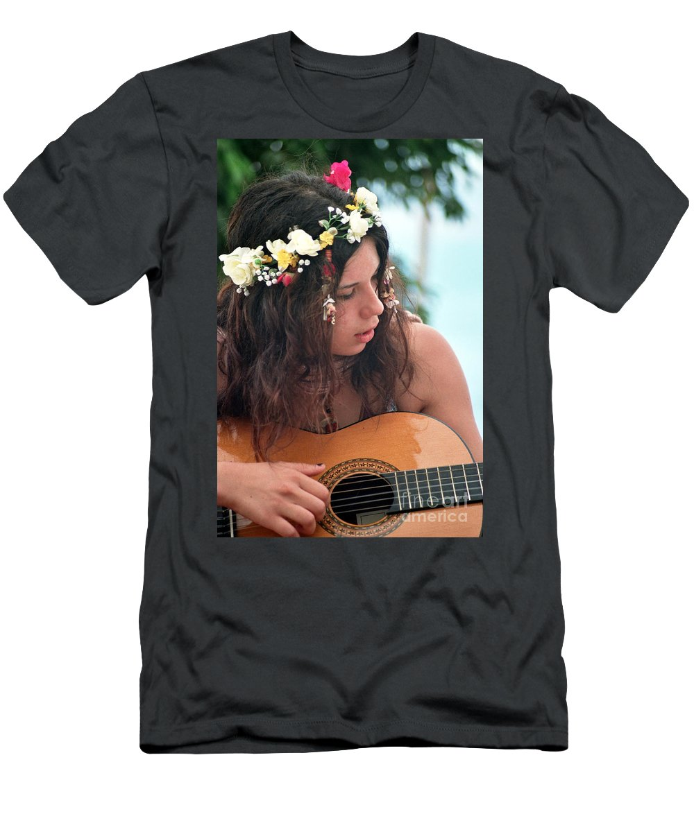 New Age Men's T-Shirt (Athletic Fit) featuring the photograph 60's Flower Girl by Ilan Rosen