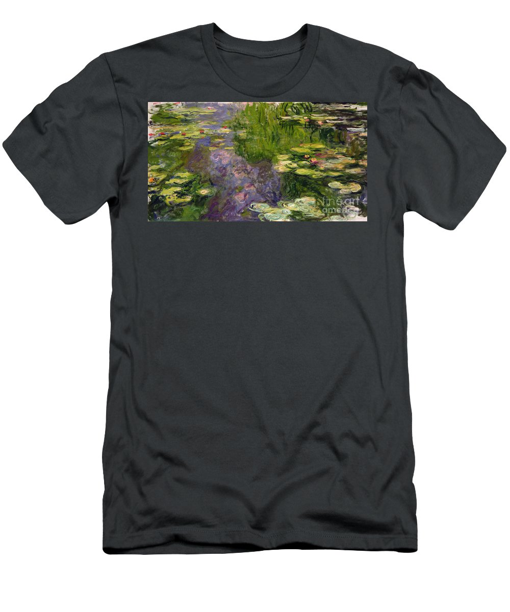 Nympheas; Water; Lily; Waterlily; Impressionist; Green; Purple T-Shirt featuring the painting Waterlilies by Claude Monet