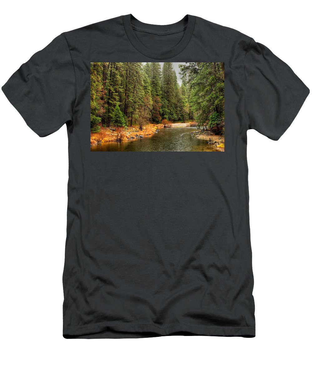 Merced Men's T-Shirt (Athletic Fit) featuring the photograph Merced River Yosemite Valley by Paul Moore