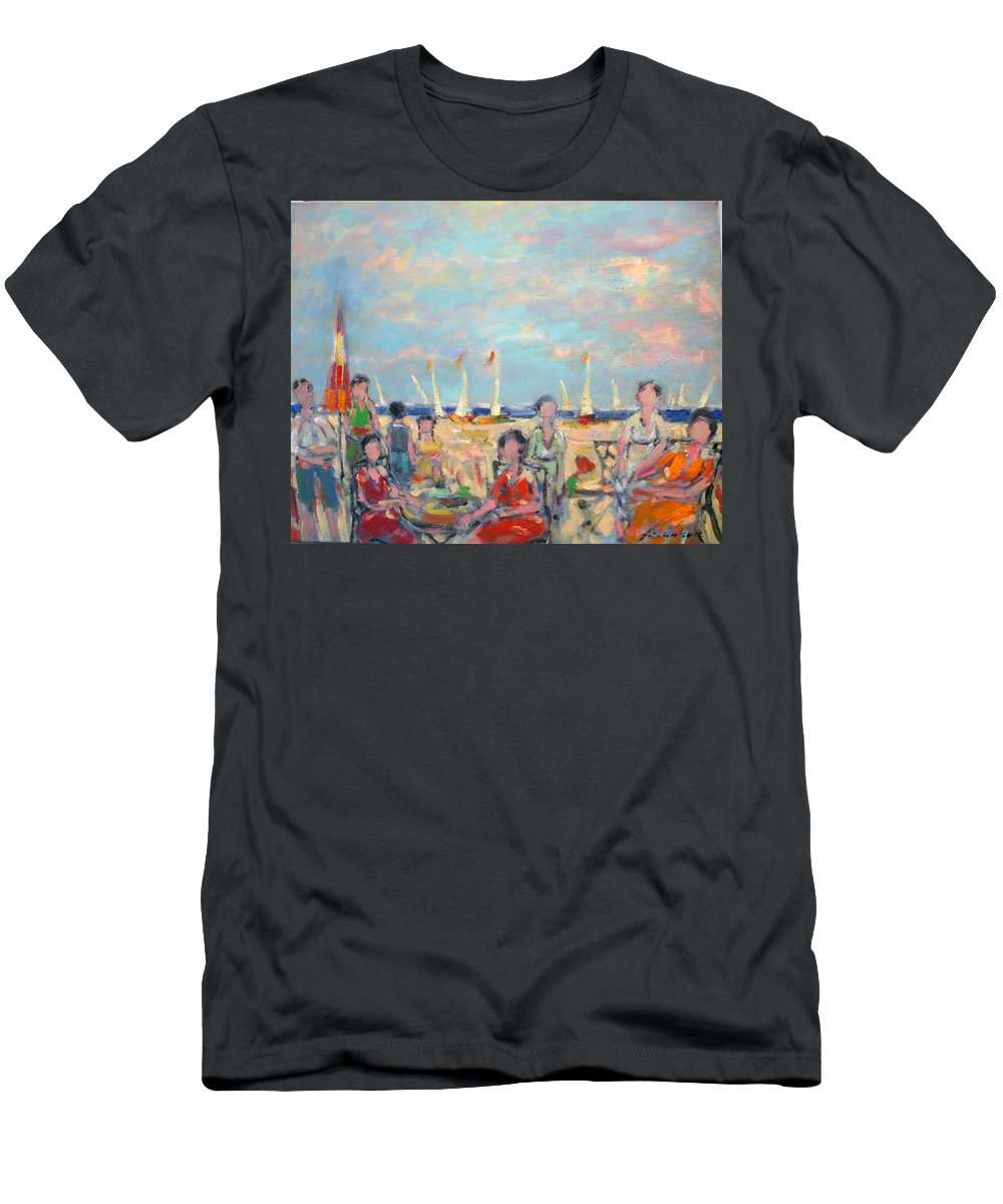 Beach Men's T-Shirt (Athletic Fit) featuring the painting A Beach Promenade 2 by Adel Sansur