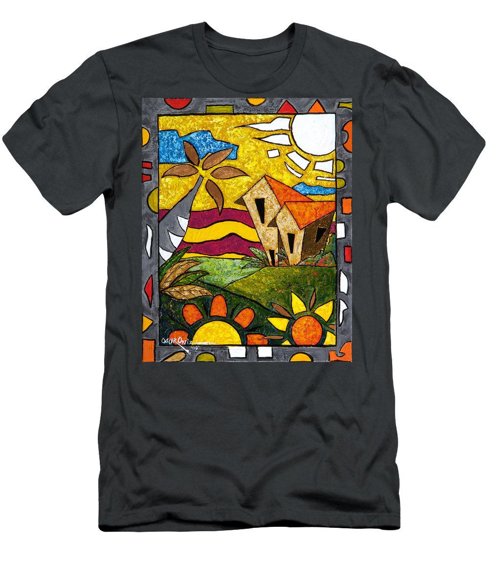 Puerto Rico Men's T-Shirt (Athletic Fit) featuring the painting A Beautiful Day by Oscar Ortiz