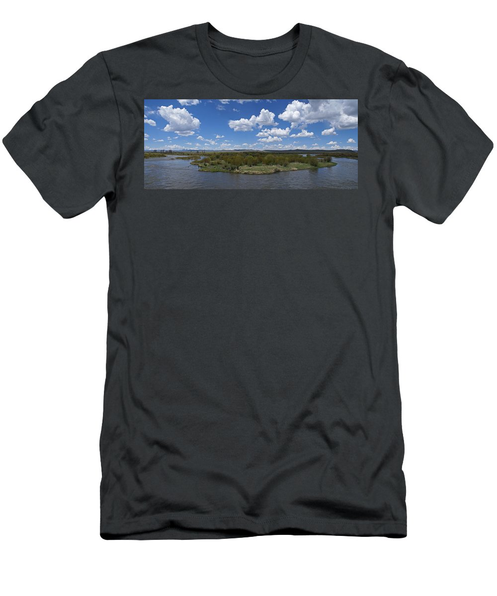 River Men's T-Shirt (Athletic Fit) featuring the photograph A Bend In The River by Heather Coen