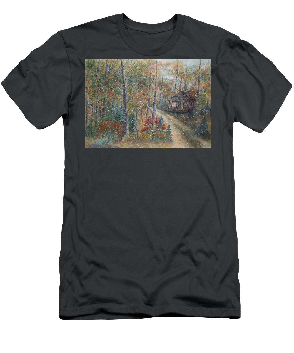 Country Road; Old House; Trees T-Shirt featuring the painting A Bend in the Road by Ben Kiger
