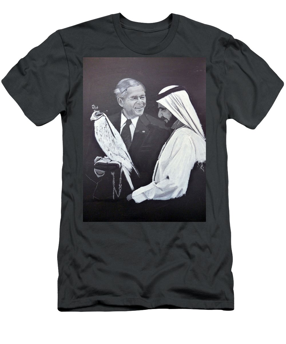 Bush Men's T-Shirt (Athletic Fit) featuring the painting A Bird In The Hand Is Worth Two In The Bush by Richard Le Page