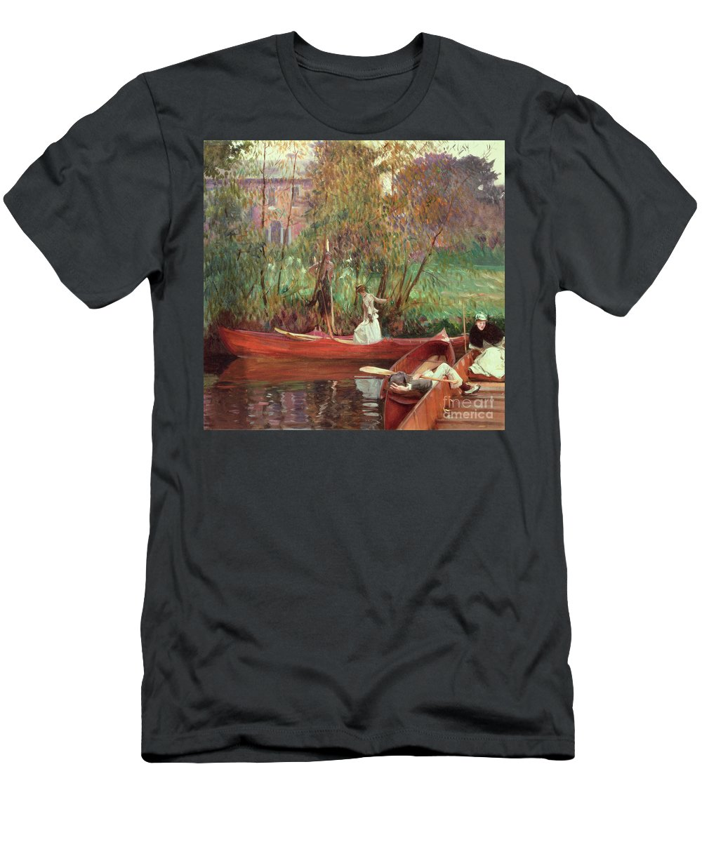 A Boating Party (oil On Canvas) By John Singer Sargent (1856-1925) Men's T-Shirt (Athletic Fit) featuring the painting A Boating Party by John Singer Sargent
