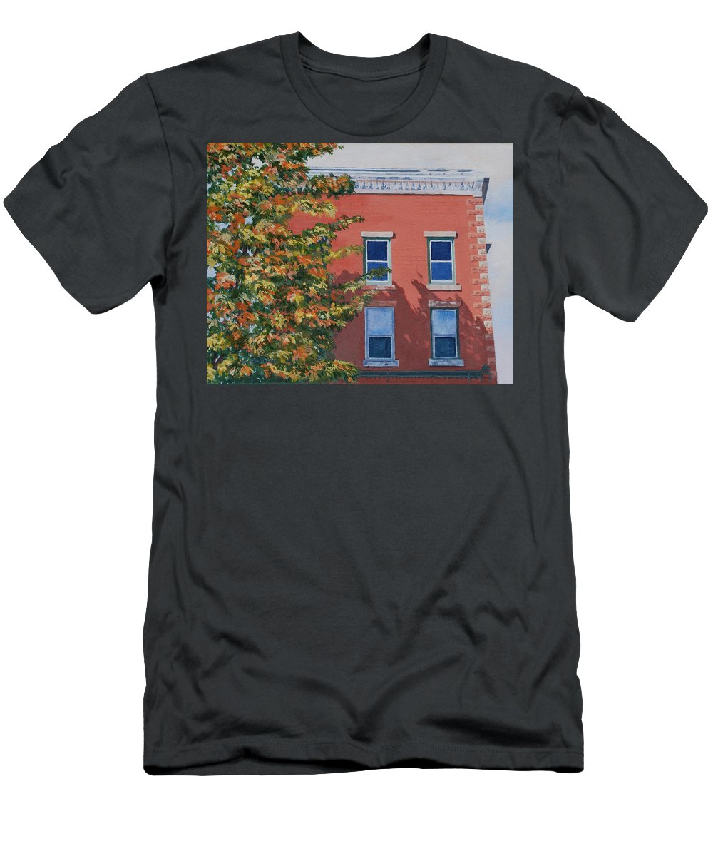 Acrylic Men's T-Shirt (Athletic Fit) featuring the painting A Brick In Time by Lynne Reichhart