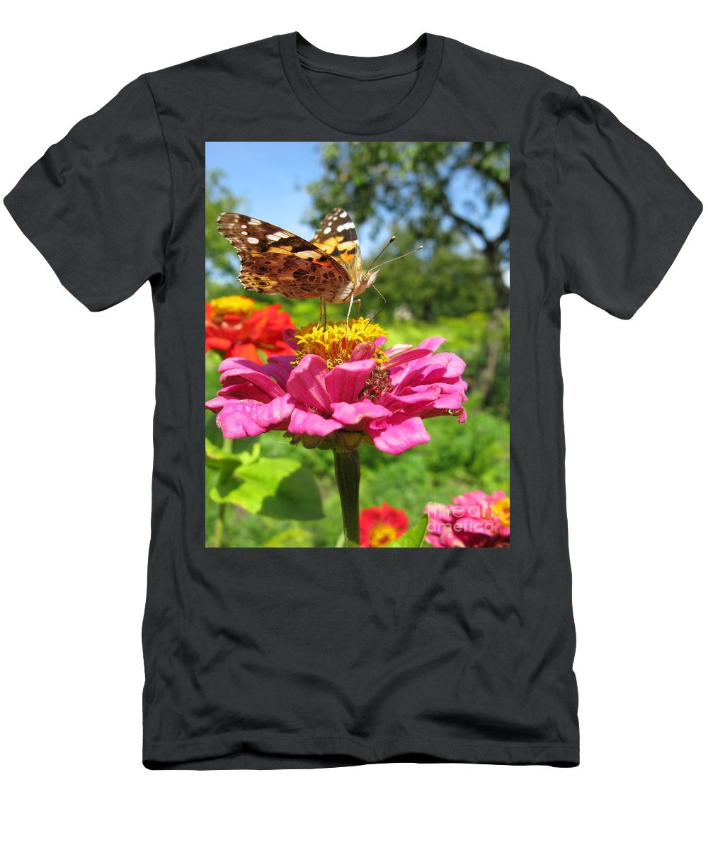 Butterfly Men's T-Shirt (Athletic Fit) featuring the photograph A Butterfly On The Pink Zinnia by Ausra Huntington nee Paulauskaite