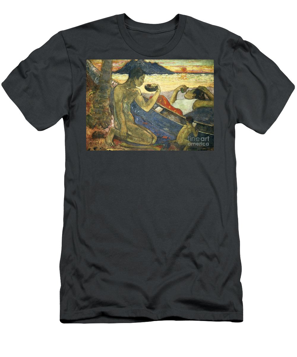 A Canoe (tahitian Family) Men's T-Shirt (Athletic Fit) featuring the painting A Canoe by Paul Gauguin
