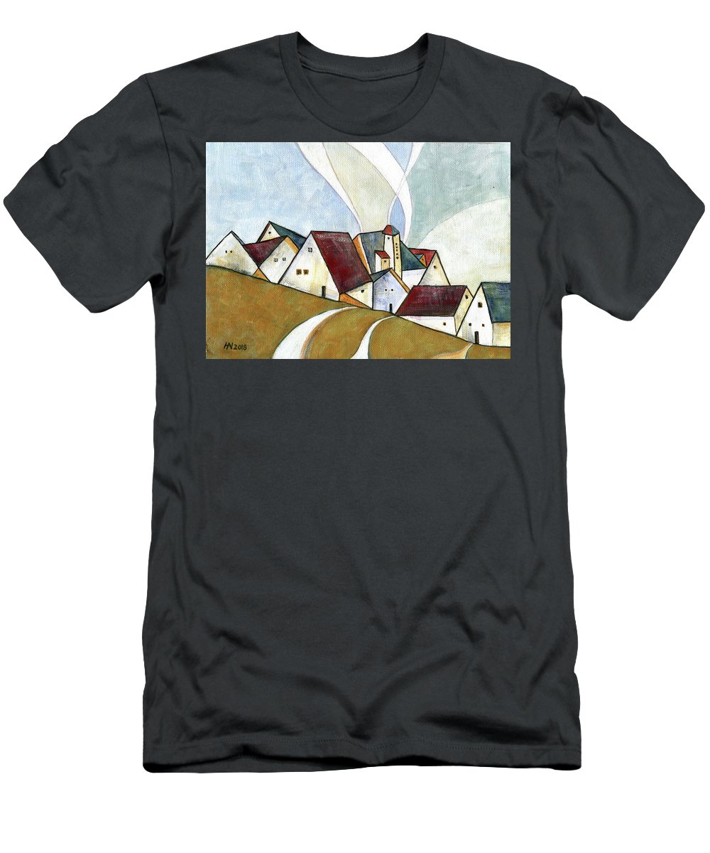 Original Art T-Shirt featuring the painting  A cold day by Aniko Hencz