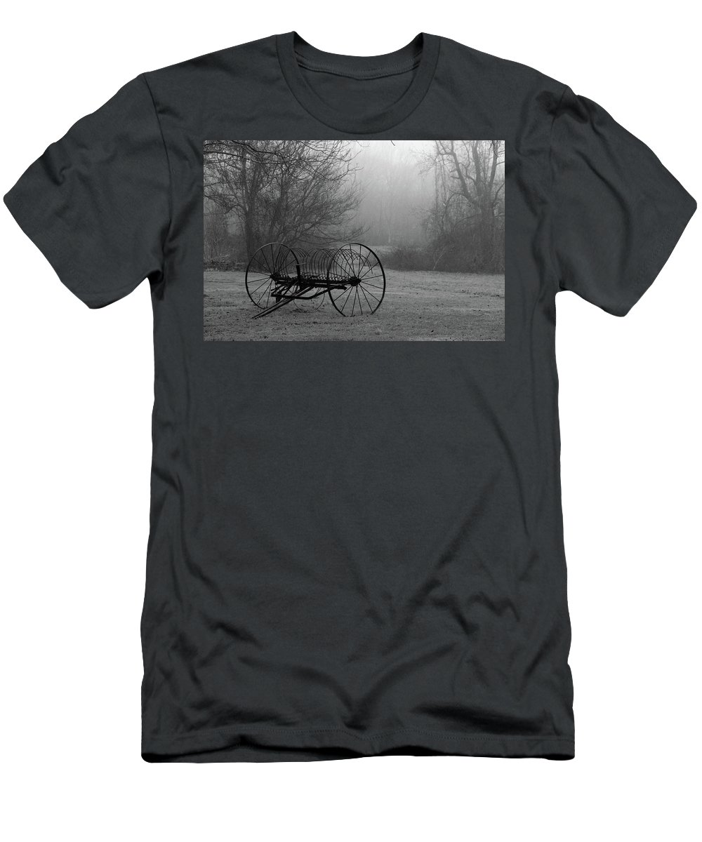 Country Men's T-Shirt (Athletic Fit) featuring the photograph A Country Scene In Black And White by Karol Livote