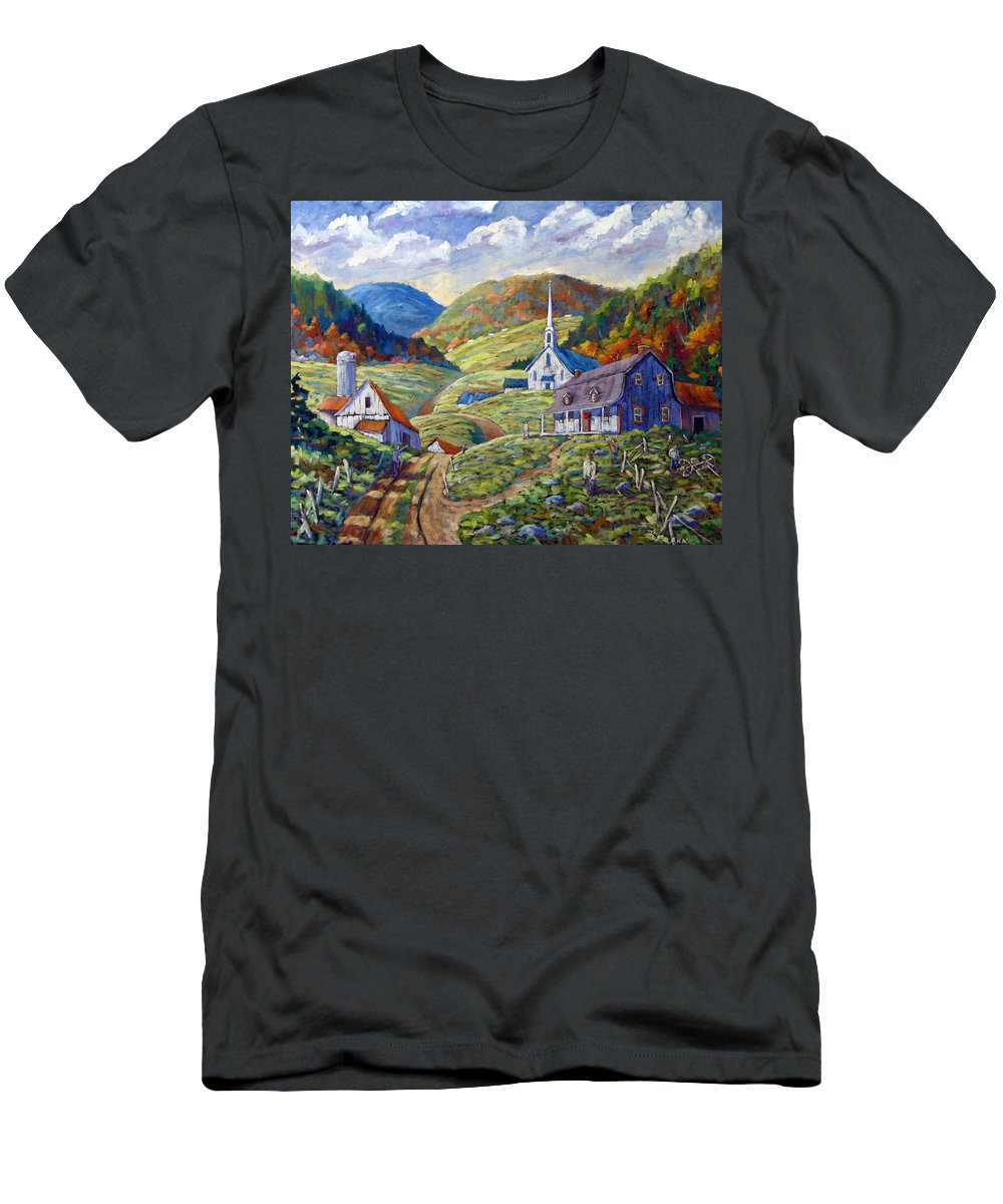 Landscape Men's T-Shirt (Athletic Fit) featuring the painting A Day In Our Valley by Richard T Pranke