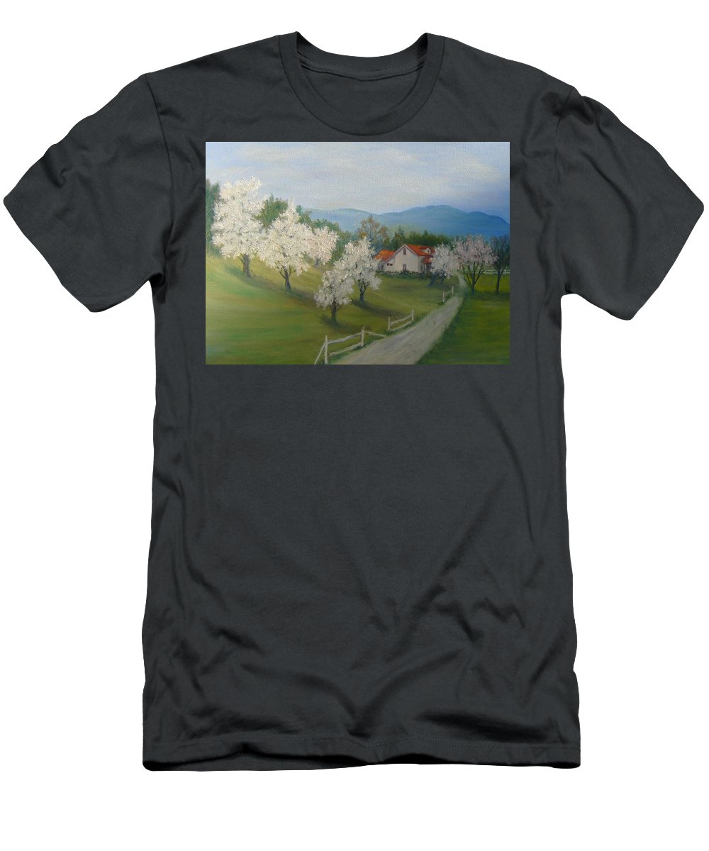 Landscape; Spring; Mountains; Country Road; House T-Shirt featuring the painting A Day in the Country by Ben Kiger