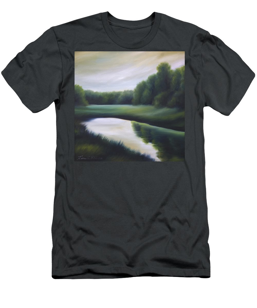Nature; Lake; Sunset; Sunrise; Serene; Forest; Trees; Water; Ripples; Clearing; Lagoon; James Christopher Hill; Jameshillgallery.com; Foliage; Sky; Realism; Oils; Green; Tree Men's T-Shirt (Athletic Fit) featuring the painting A Day In The Life 3 by James Christopher Hill