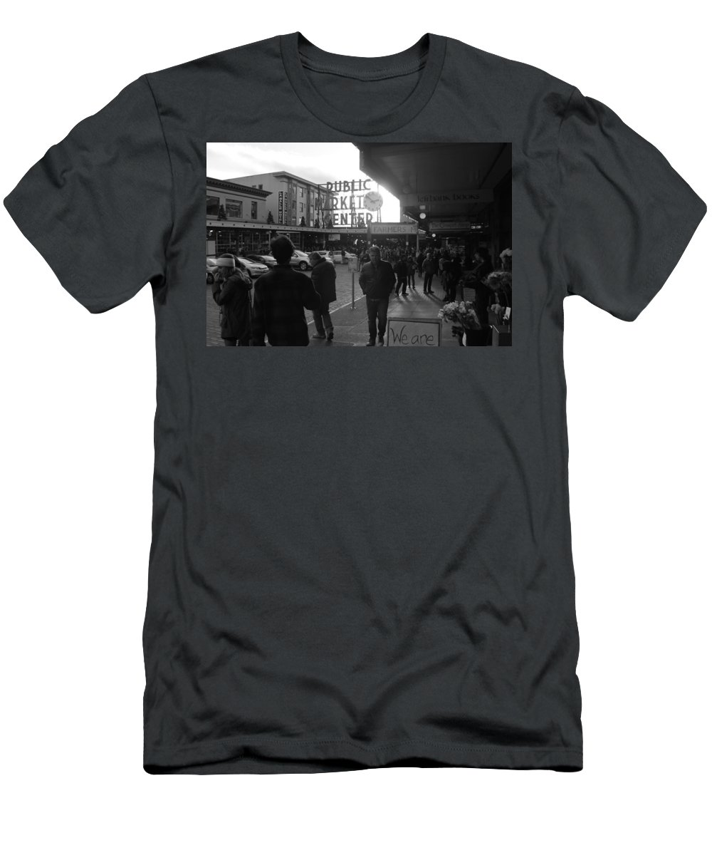 Pikesplacemarket Men's T-Shirt (Athletic Fit) featuring the photograph A Day In The Market by Jeremy Johnson