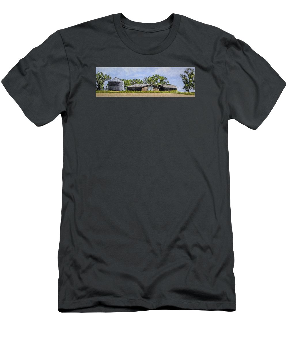 A Deserted Farm Men's T-Shirt (Athletic Fit) featuring the photograph A Deserted Farm by Priscilla Burgers