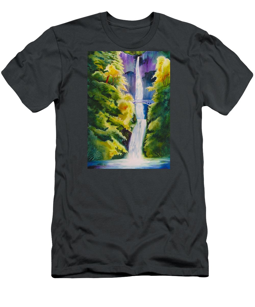 Waterfall Men's T-Shirt (Athletic Fit) featuring the painting A Favorite Place by Karen Stark