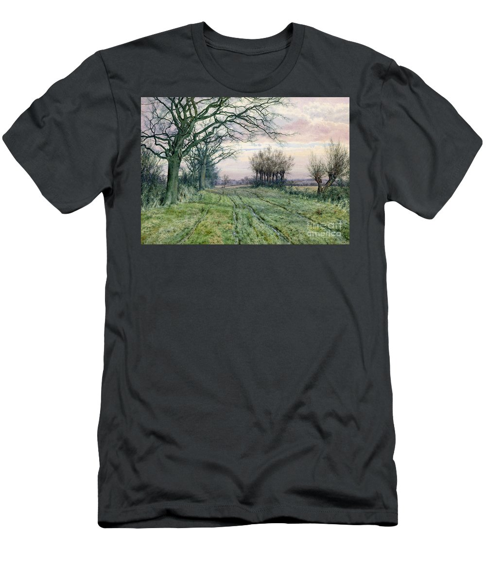 Fenland Men's T-Shirt (Athletic Fit) featuring the painting A Fenland Lane With Pollarded Willows by William Fraser Garden