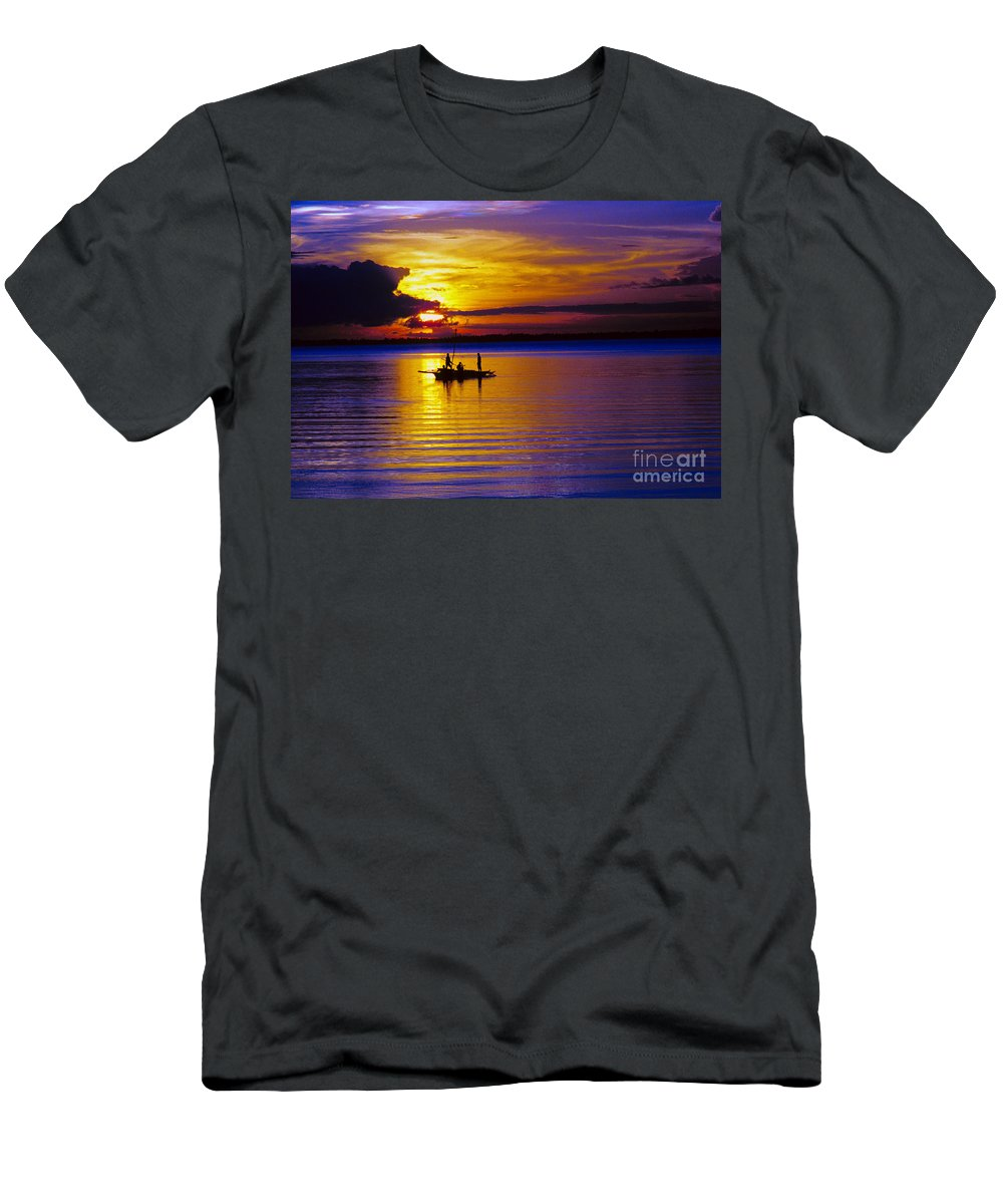 Sunset Men's T-Shirt (Athletic Fit) featuring the photograph A Fisherman's Sunset by James BO Insogna