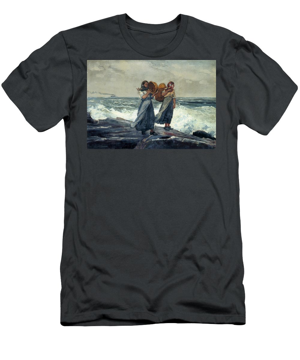 Winslow_homer_-_a Fresh Breeze Men's T-Shirt (Athletic Fit) featuring the painting A Fresh Breeze by MotionAge Designs