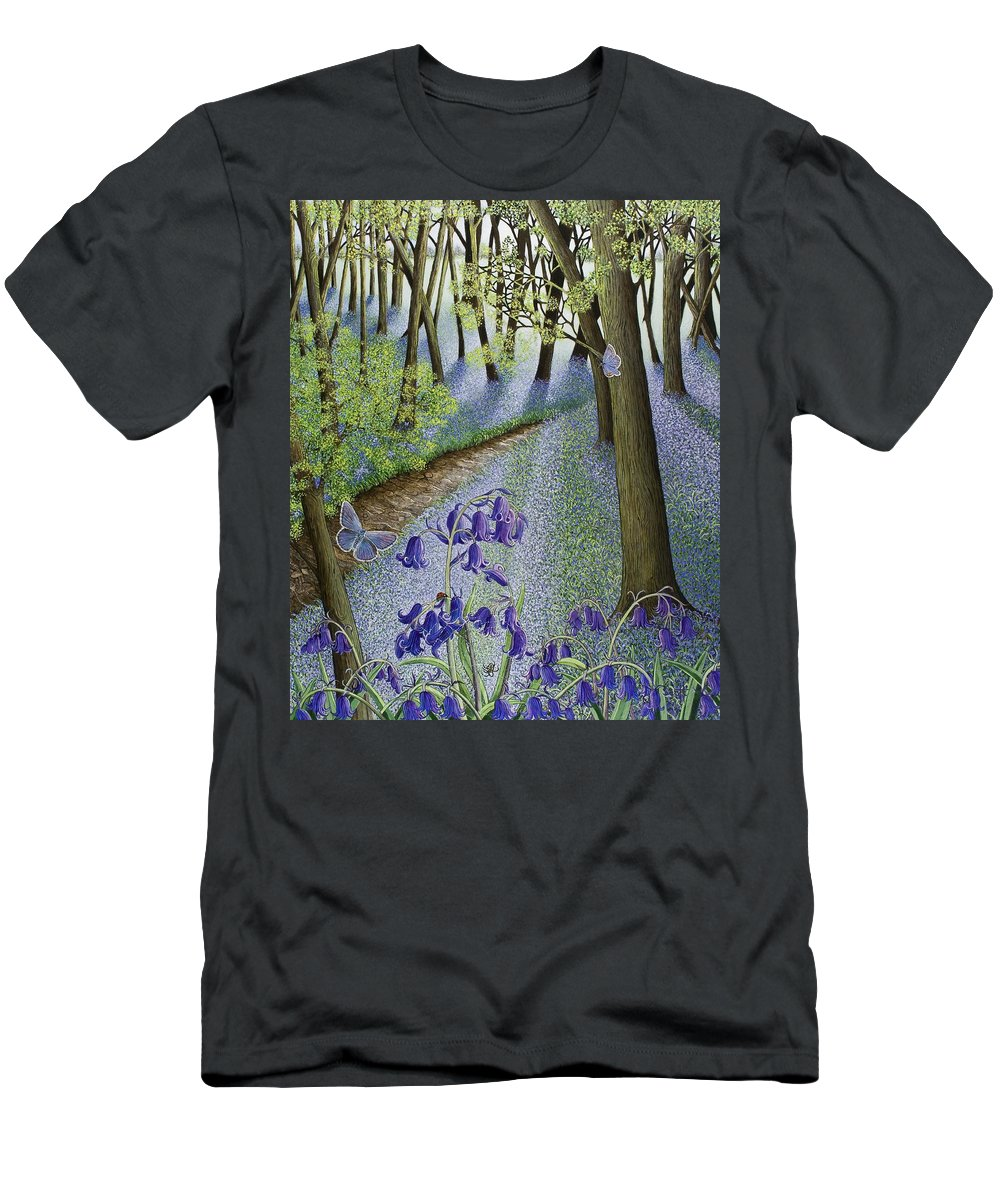 Woods; Flowers; Bluebells; Bluebell; Flower; Tree; Trees Men's T-Shirt (Athletic Fit) featuring the painting A Fresh Start by Pat Scott