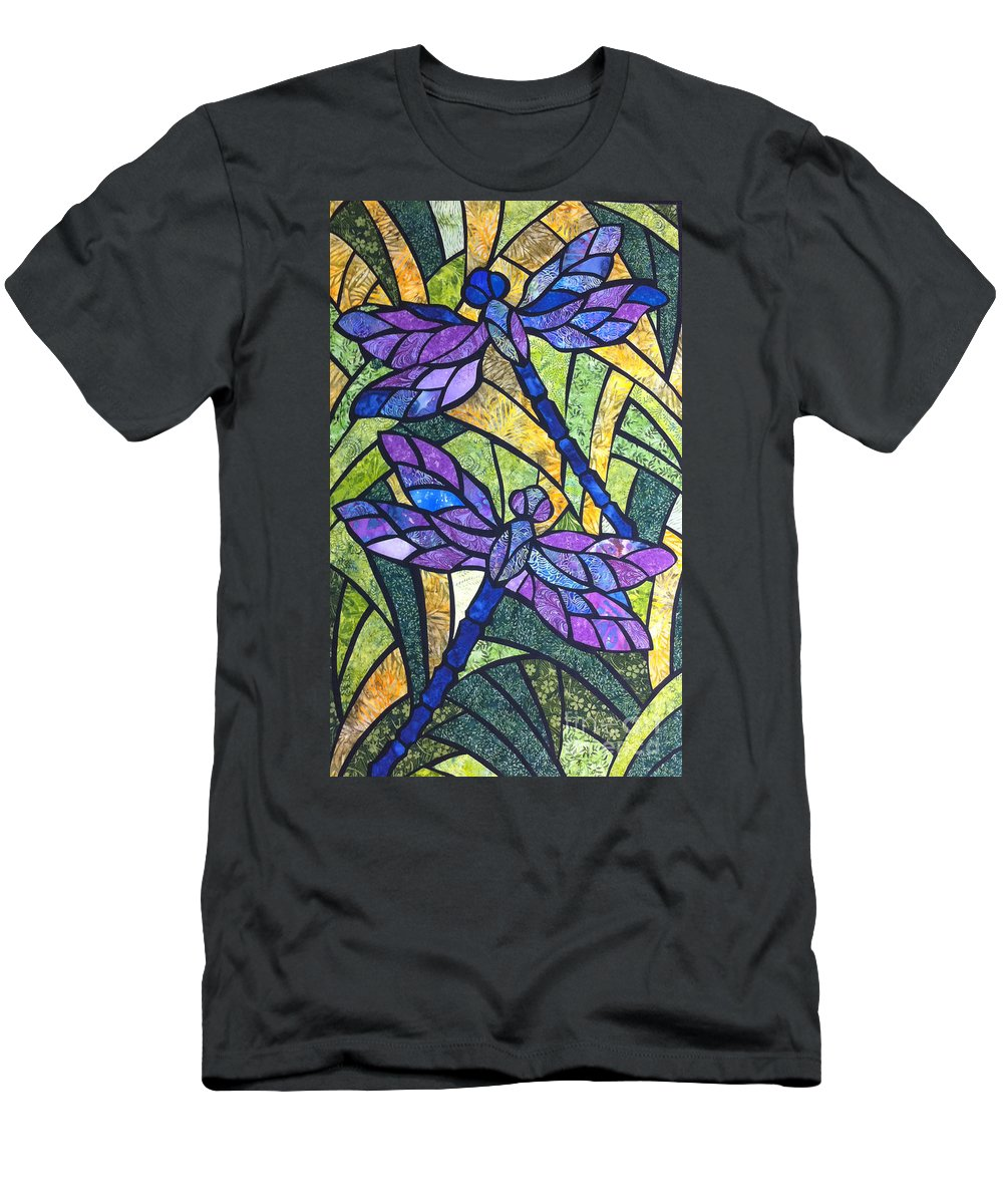 Dragonflies Men's T-Shirt (Athletic Fit) featuring the tapestry - textile A Gentle Flight by Karen Ann