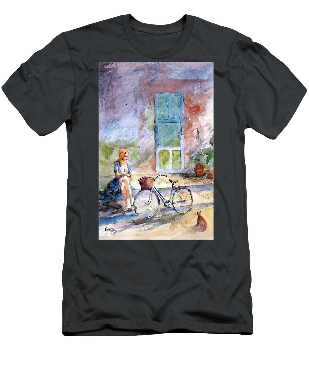 Young Woman Men's T-Shirt (Athletic Fit) featuring the painting A Little Break... by Faruk Koksal