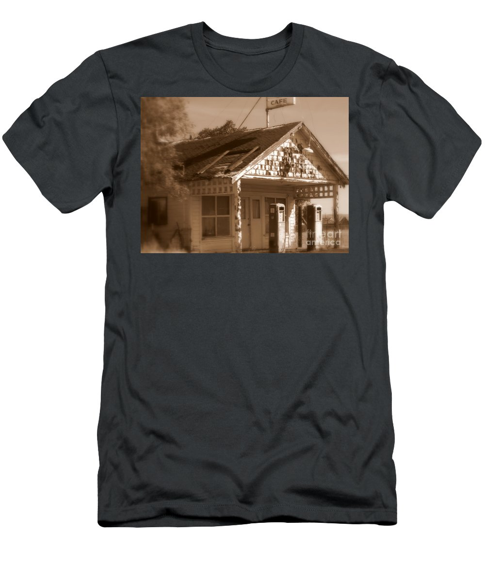Old Building Men's T-Shirt (Athletic Fit) featuring the photograph A Little Weathered Gas Station by Carol Groenen