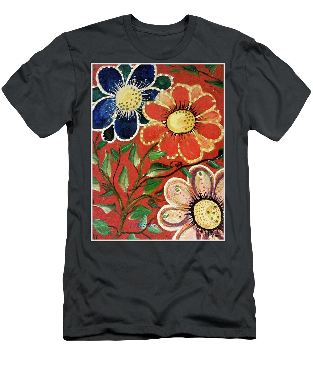 Flowers Men's T-Shirt (Athletic Fit) featuring the painting A Trio Of Flowers by Kathy Othon