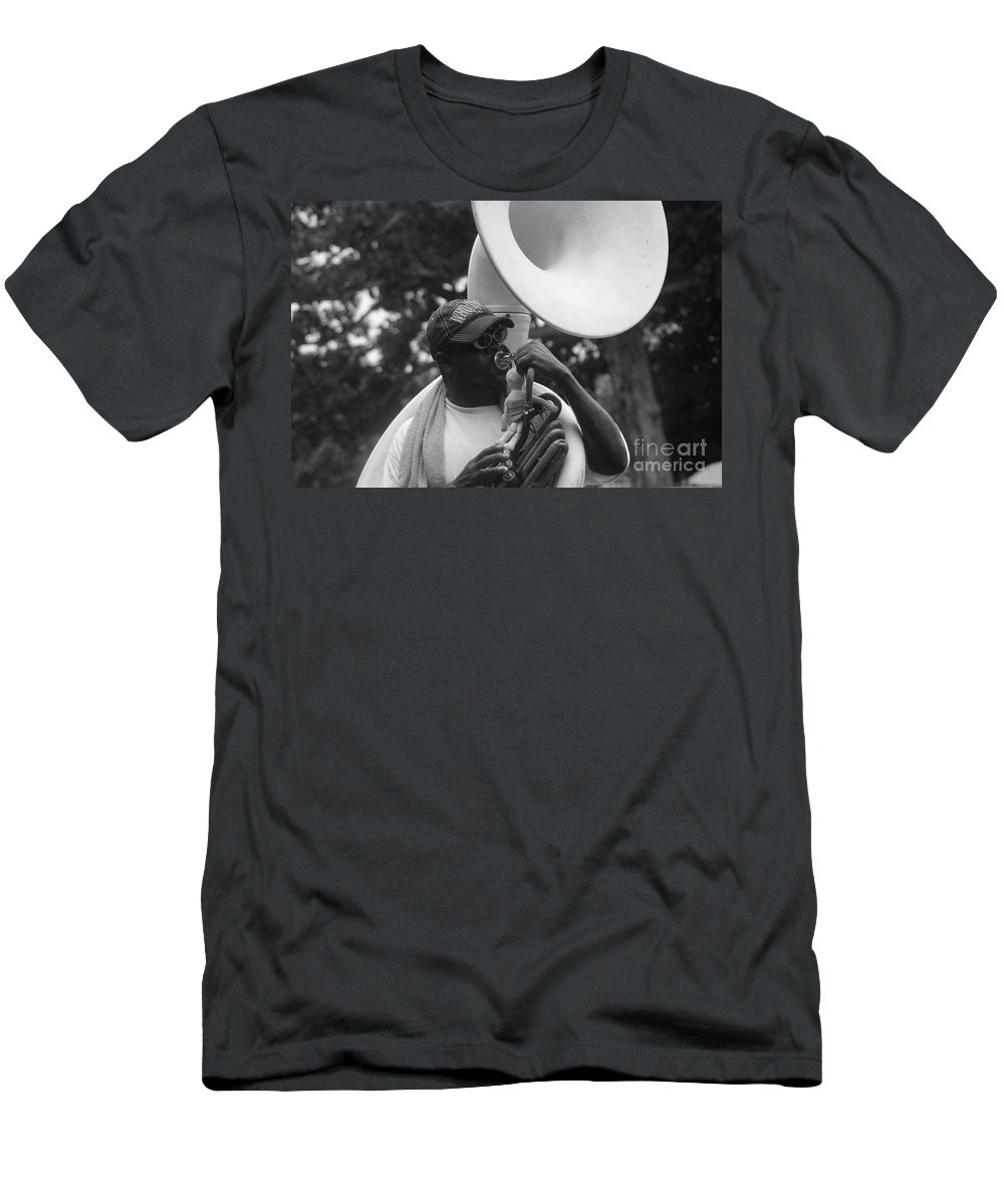 Black And White Men's T-Shirt (Athletic Fit) featuring the photograph A Man Blows His Horn by Michelle Powell