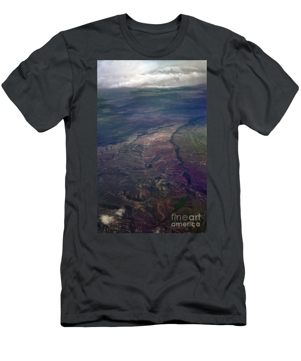 Aerial Photography Men's T-Shirt (Athletic Fit) featuring the photograph A Midwestern Landscape by Richard Rizzo