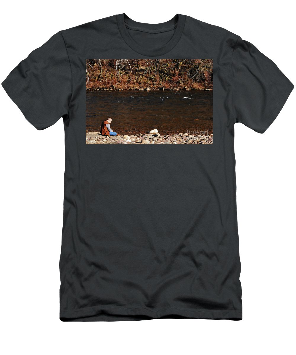 Person Men's T-Shirt (Athletic Fit) featuring the photograph A Moment By The Water by Lori Tambakis