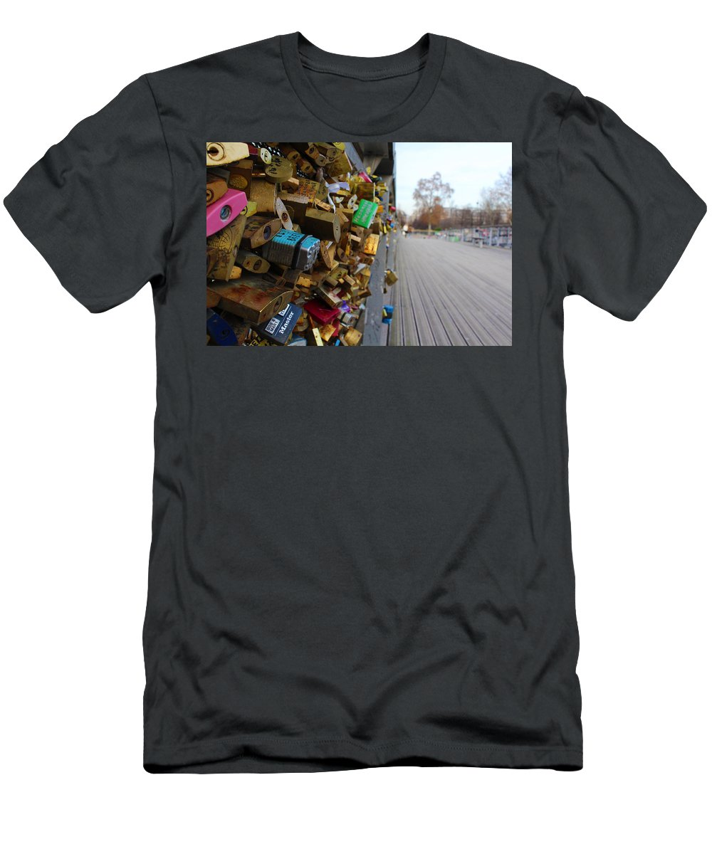 France Men's T-Shirt (Athletic Fit) featuring the photograph A Padlock Filled Bridge In Paris by Rikki Prince