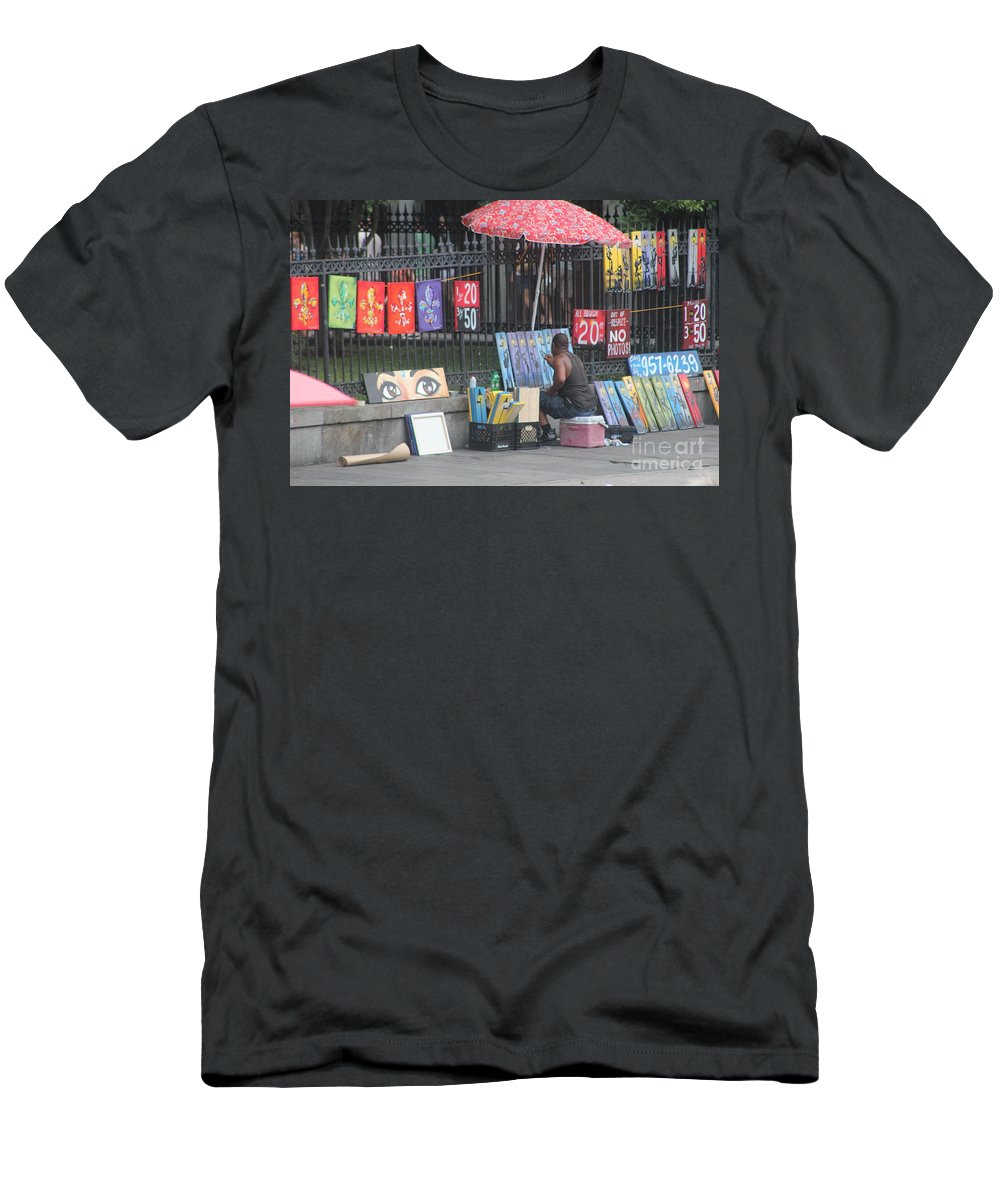 Scenery Men's T-Shirt (Athletic Fit) featuring the photograph A Painting Artist by Michelle Powell