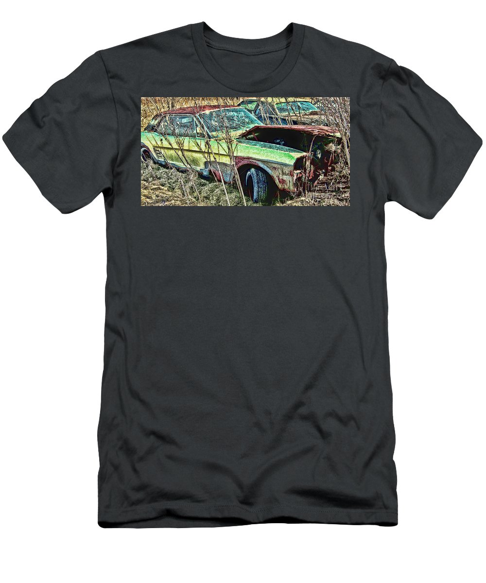 Ford Men's T-Shirt (Athletic Fit) featuring the digital art A Parted Out Mustang by Tommy Anderson