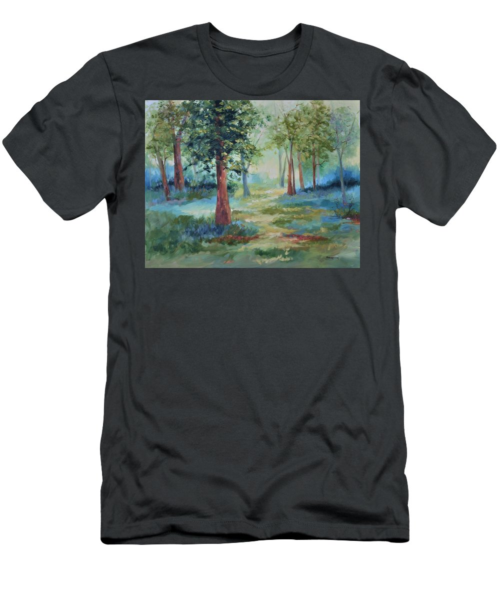 Trees Men's T-Shirt (Athletic Fit) featuring the painting A Path Not Taken by Ginger Concepcion