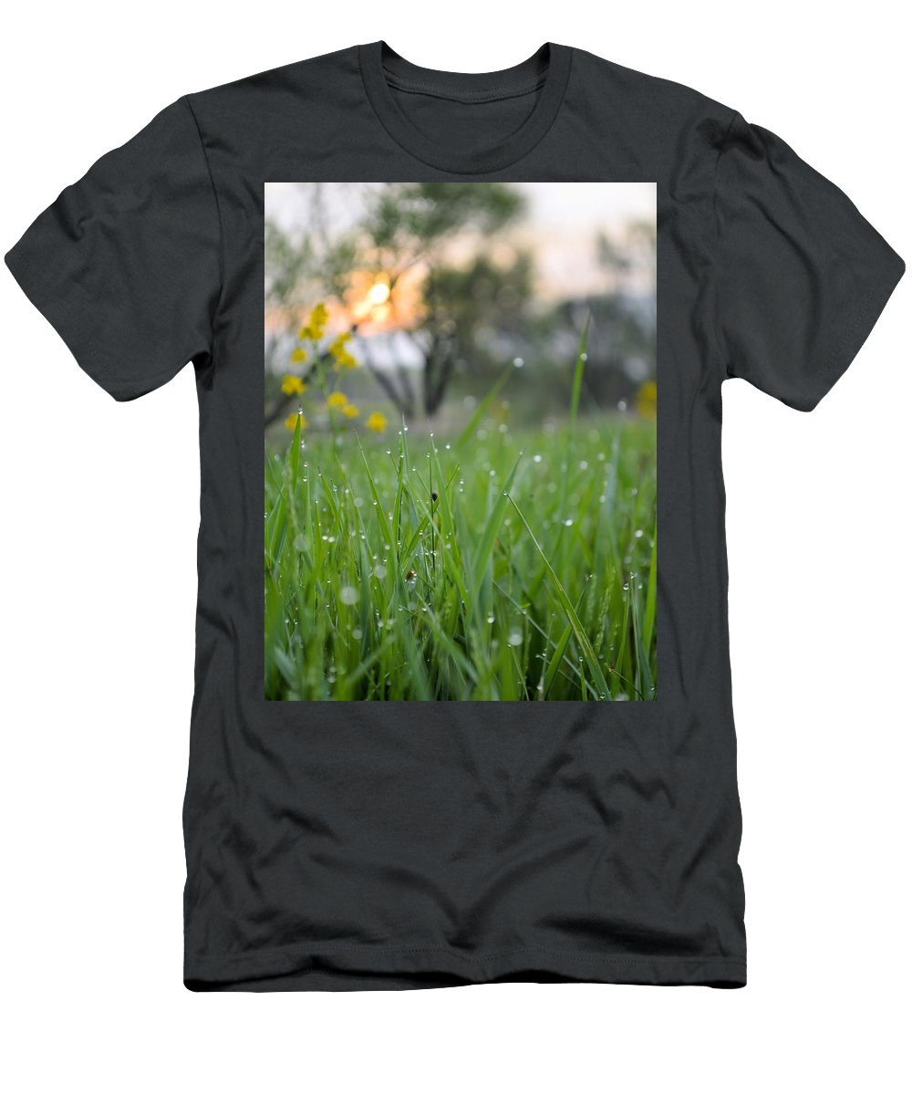 Grass Men's T-Shirt (Athletic Fit) featuring the photograph A Rabbits View by Bonfire Photography