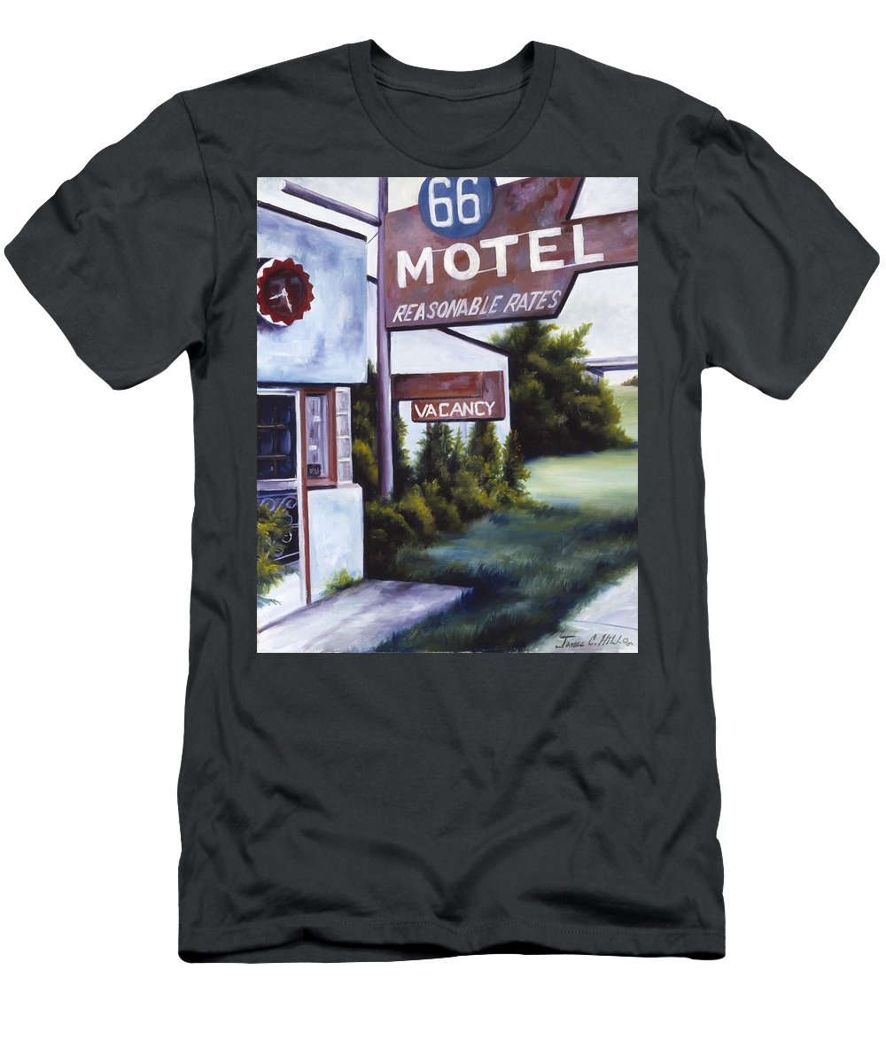 Motel; Route 66; Desert; Abandoned; Delapidated; Lost; Highway; Route 66; Road; Vacancy; Run-down; Building; Old Signage; Nastalgia; Vintage; James Christopher Hill; Jameshillgallery.com; Foliage; Sky; Realism; Oils Men's T-Shirt (Athletic Fit) featuring the painting A Road Less Traveled by James Christopher Hill