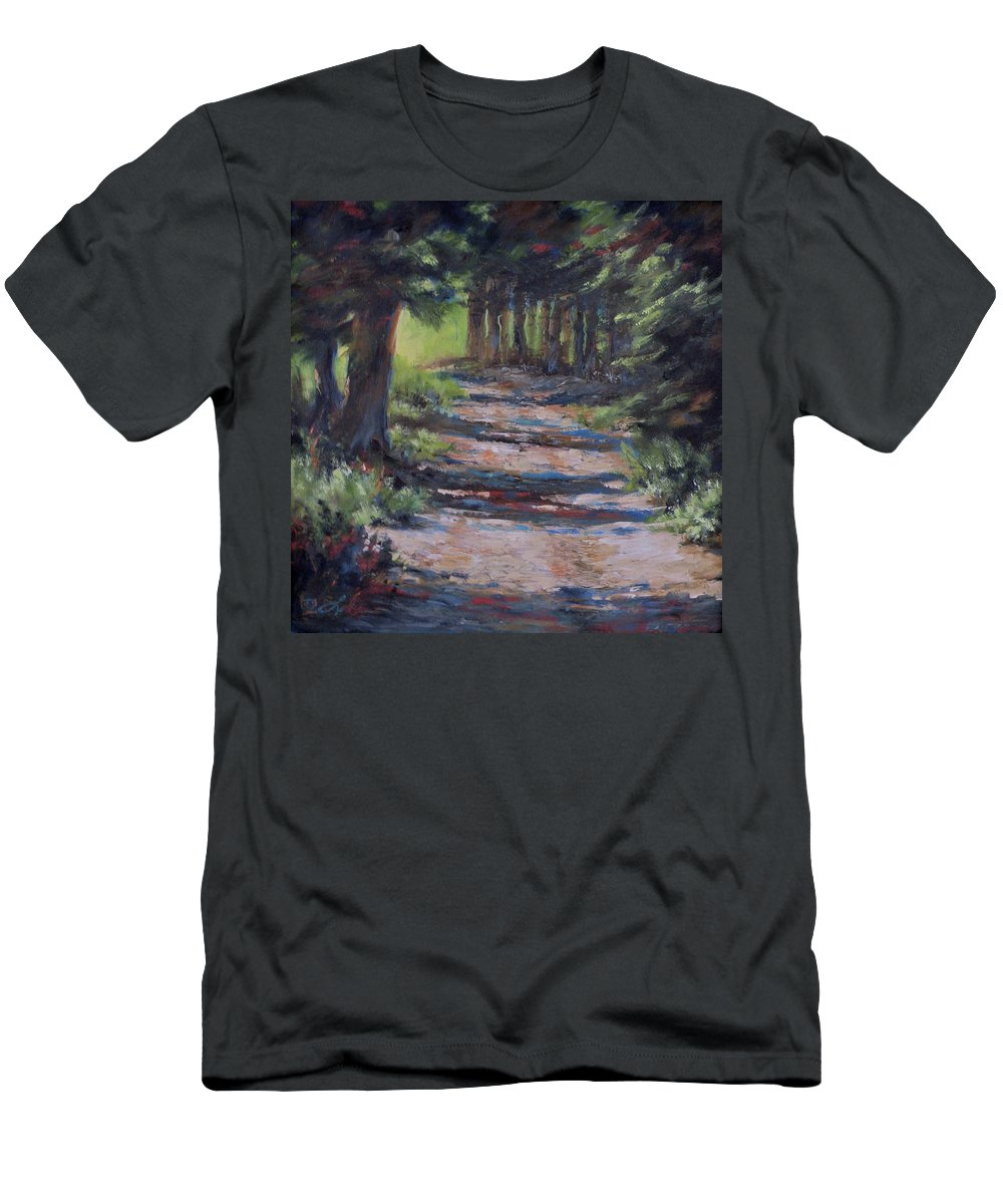 Landscape Men's T-Shirt (Athletic Fit) featuring the painting A Road Less Travelled by Mia DeLode