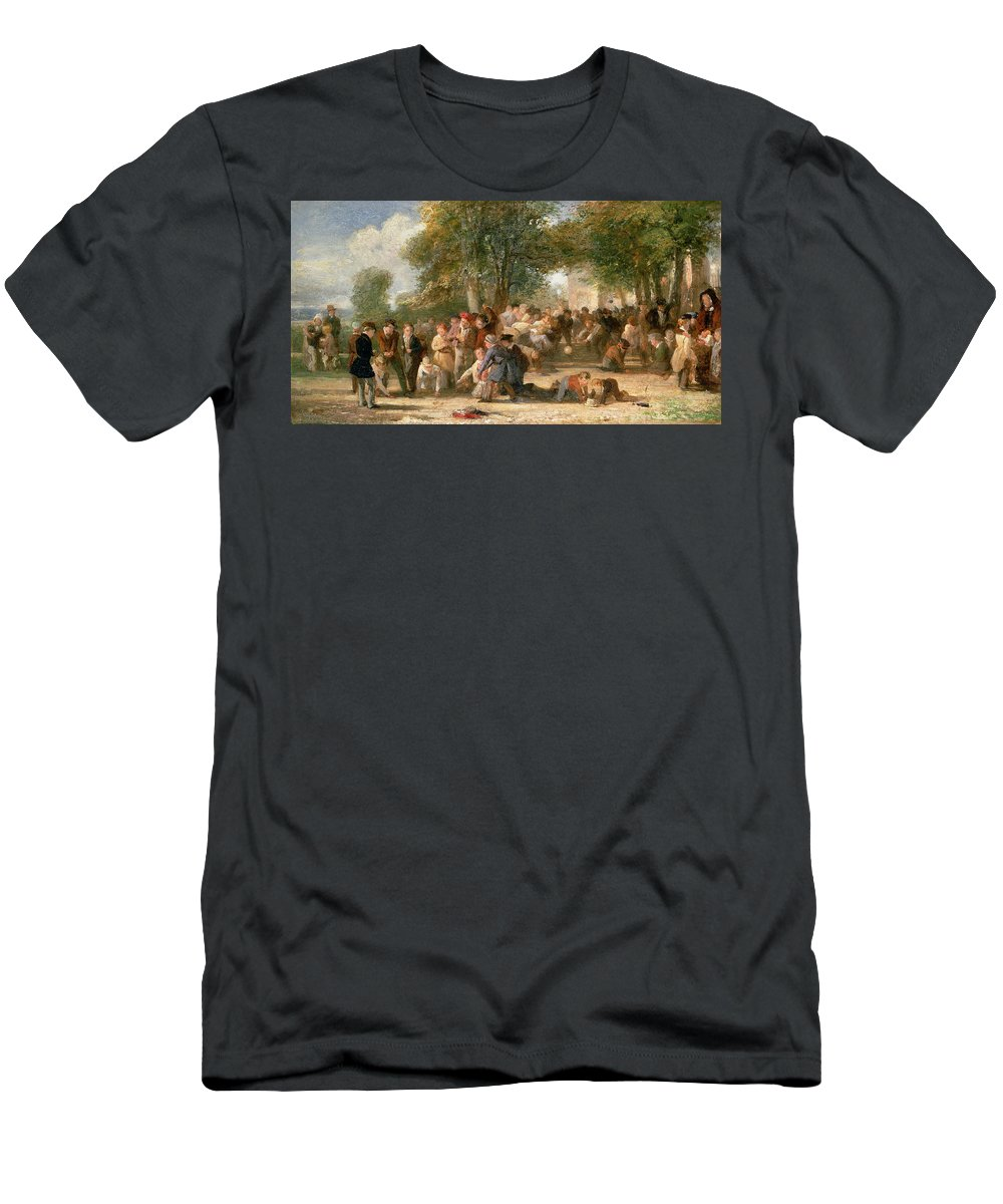 School Men's T-Shirt (Athletic Fit) featuring the painting A School Playground by Thomas Webster