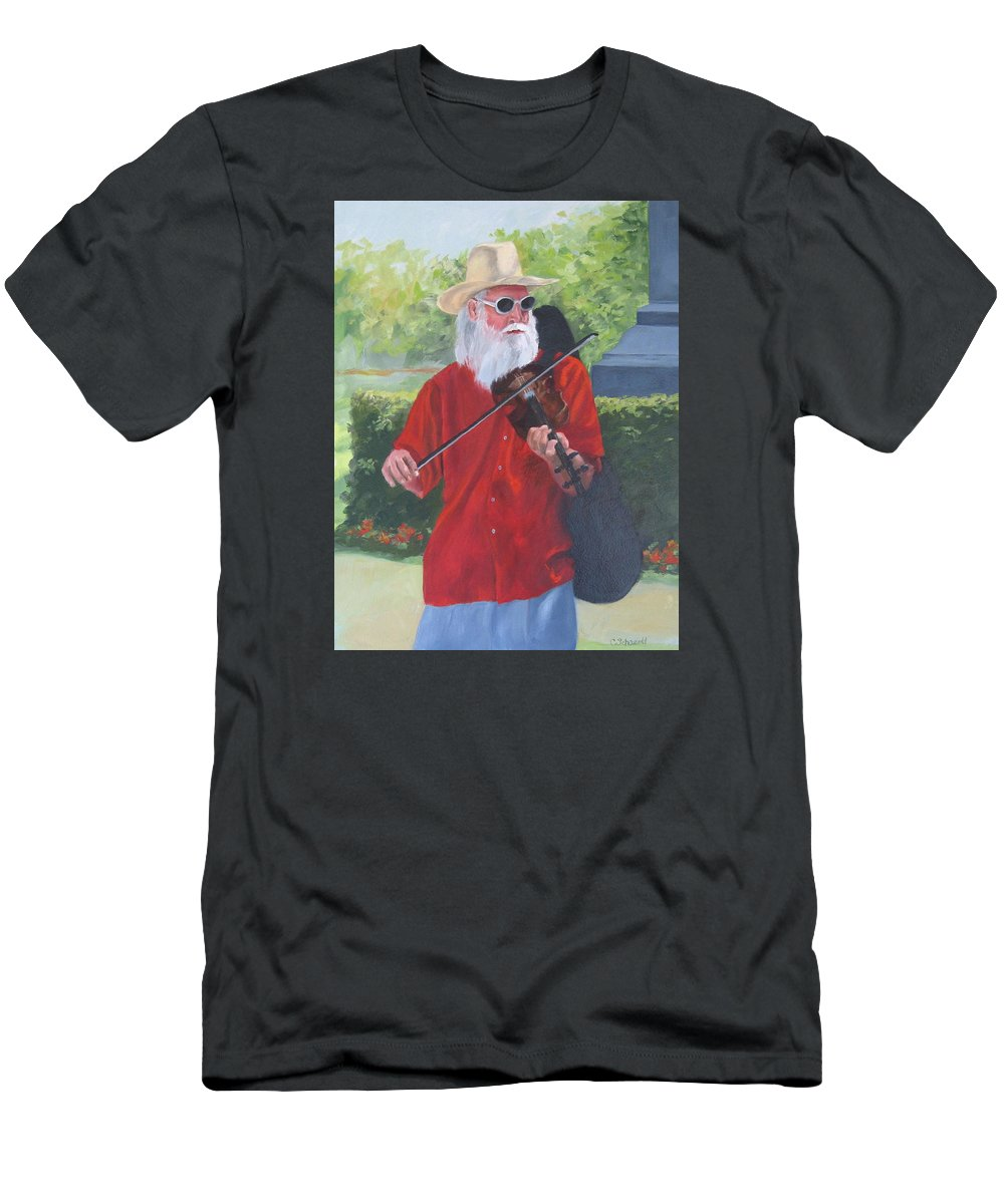 Slim Men's T-Shirt (Athletic Fit) featuring the painting A Slim Fiddler For Peace by Connie Schaertl