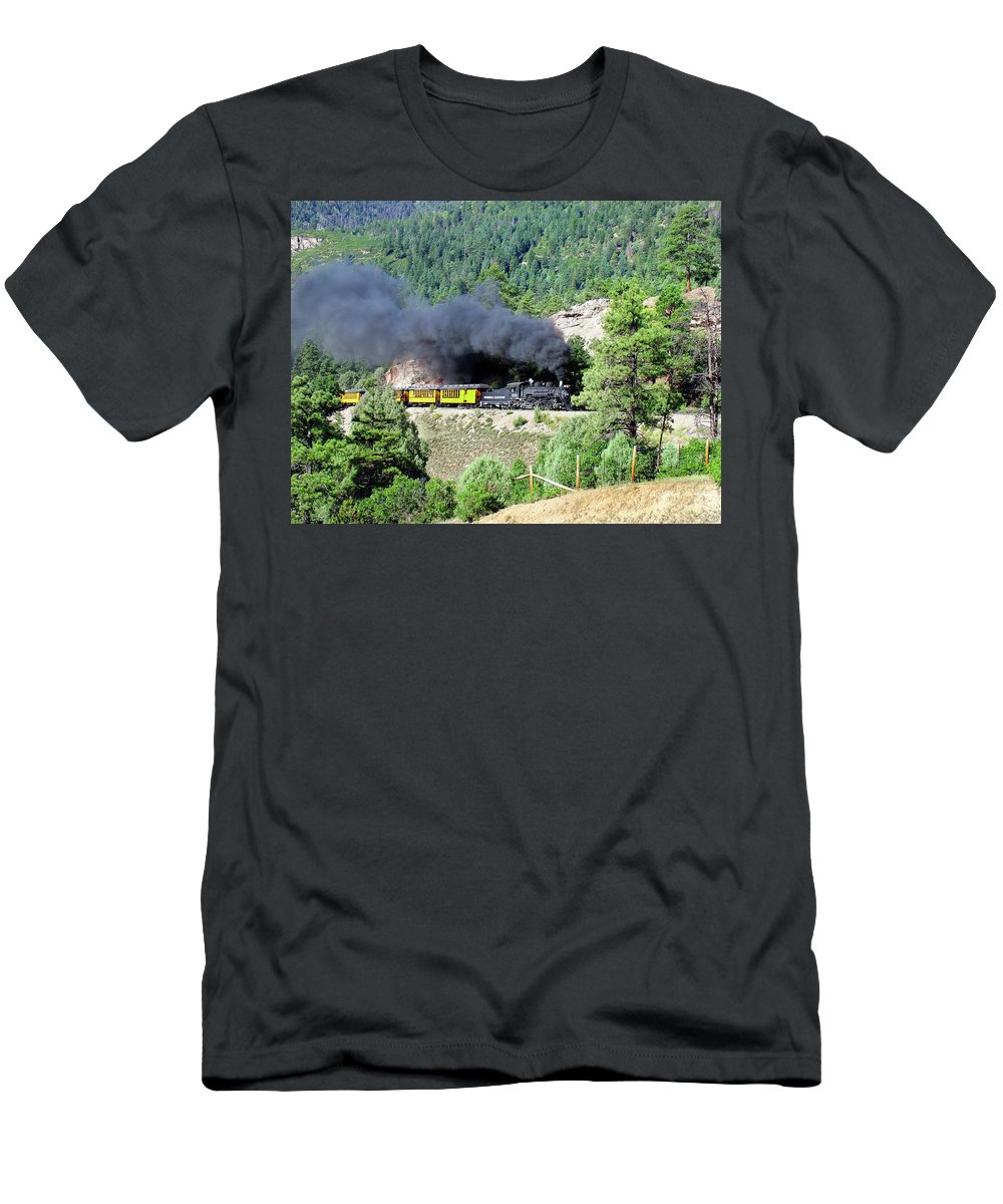 Steam Train Men's T-Shirt (Athletic Fit) featuring the photograph A Slow Climb by Ken Smith