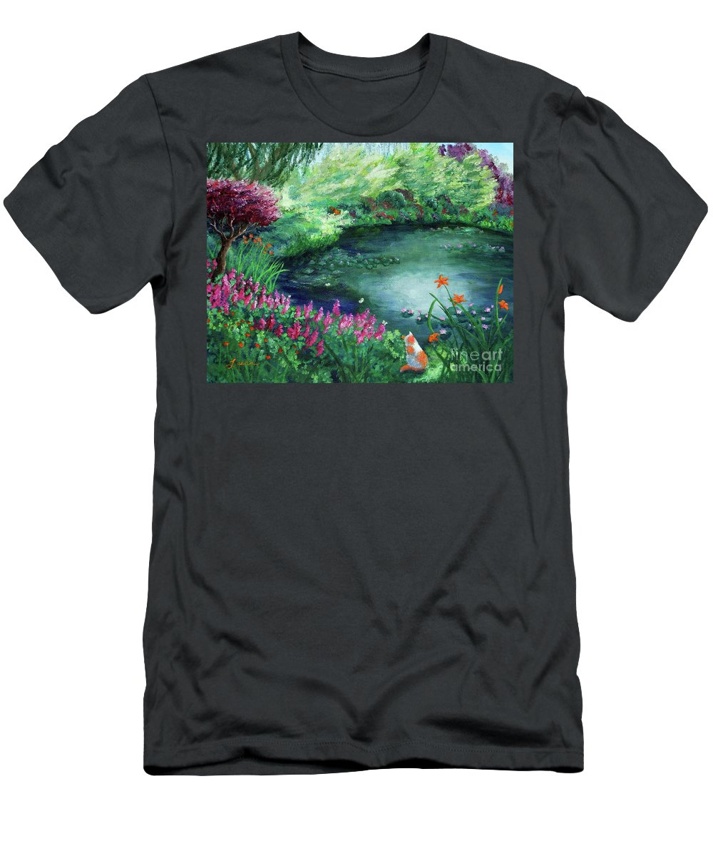 Cat Men's T-Shirt (Athletic Fit) featuring the painting A Spring Day In The Garden by Laura Iverson