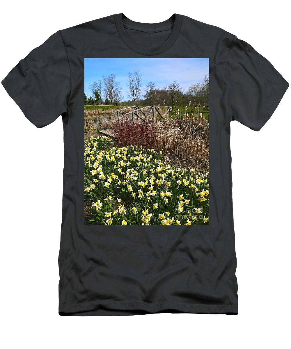 Related Tags: Flowers Artwork Men's T-Shirt (Athletic Fit) featuring the photograph A Spring Pathway by Robert Pearson