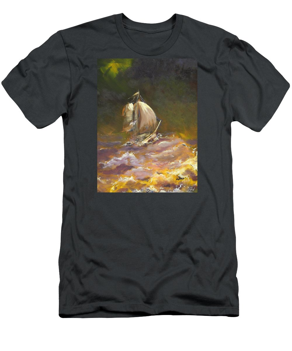 Storm Men's T-Shirt (Athletic Fit) featuring the painting A Stormy Night At Sea by Dan Whittemore
